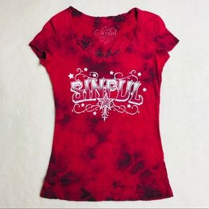 Affliction XS Top Shirt Sinful Red Tie Dye Graphic